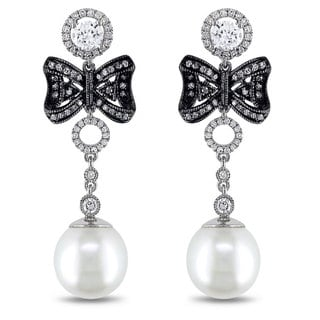 Miadora Signature Collection 18K Gold 1ct TDW Diamond and South Sea Pearl Earrings (G-H, SI1-SI2)