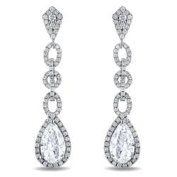 Miadora 14k Gold 5ct TDW Diamond Dangle Halo Earrings(G-H, SI1-SI2)