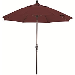 9-foot Terracotta Fiberglass Market Umbrella with Collar Tilt
