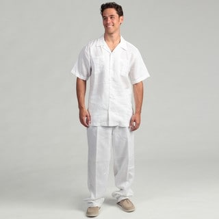 Steve Harvey Men's White Shirt and Pant Linen Set