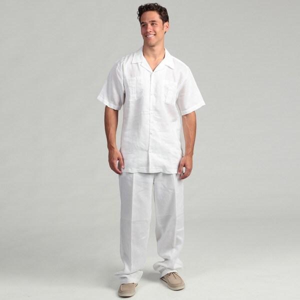 Steve Harvey Men's White Shirt and Pant Linen Set