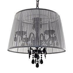 Versailles Traditional Bohemian Four-light Crystal Chandelier Black with Black Shade
