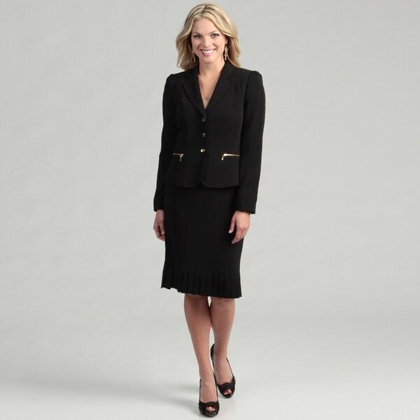 Tahari Women's Black 3-button Skirt Suit