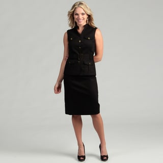 Tahari ASL Women's Black Safari Poplin Belted Skirt Suit