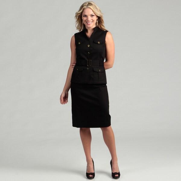 Tahari ASL Women's Black Safari Poplin Belted Skirt Suit