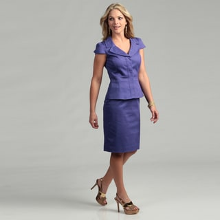 Tahari ASL Women's Short-sleeve Poplin 2-piece Skirt Suit
