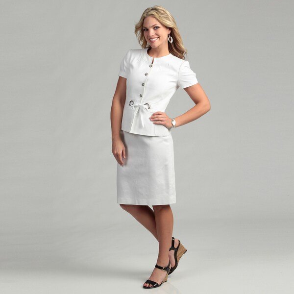 Tahari ASL Women's White Novelty Jacquard 2-piece Skirt Suit