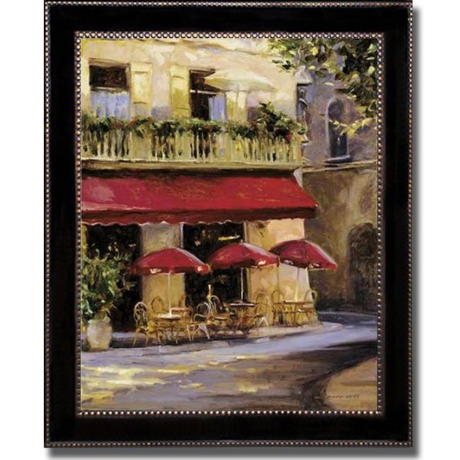 Keith Wicks 'Three Red Umbrellas' Framed Canvas Art