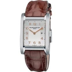 Baume & Mercier Women's M0A10018 'Hampton' Silver Dial Brown Leather Strap Watch
