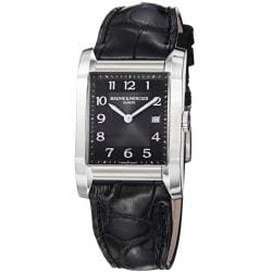 Baume & Mercier Men's 'Hampton' Black Dial Black Leather Strap Watch