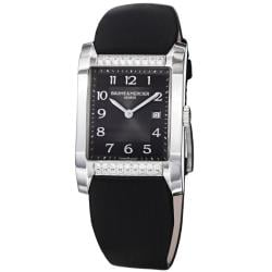 Baume & Mercier Women's 'Hampton' A10024 Diamond Dial Black Satin Strap Watch