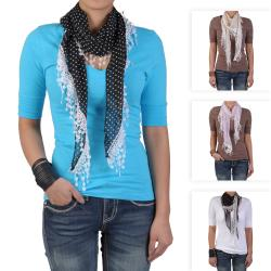 Hailey Jeans Co Women's Polka-dot Lacy Detail Scarf