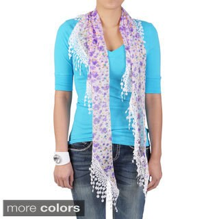 Hailey Jeans Co Women's Floral Print Lacy Detail Scarf