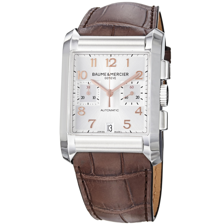 Baume & Mercier Men's 'Hampton' Silver Dial Brown Leather Strap Watch