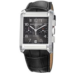 Baume & Mercier Men's Hampton Grey Chronograph Dial Black Strap Watch