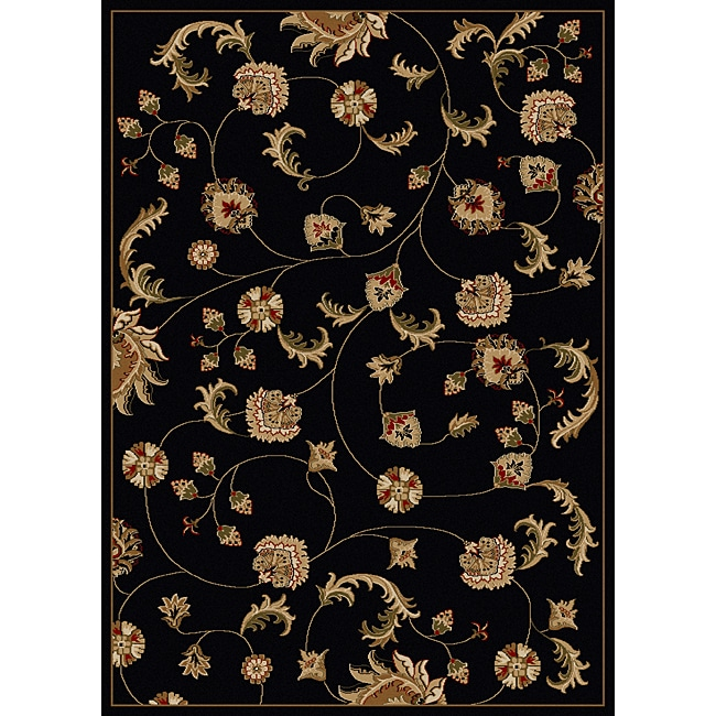 Amalfi Vines Black Area Rug (7'9 x 11')