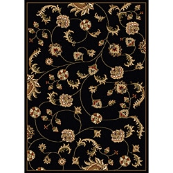 Amalfi Vines Black Area Rug (5'5 x 7'7)