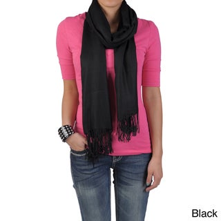 Hailey Jeans Co Women's Solid-Colored Fringe-Detail Pashmina Scarf