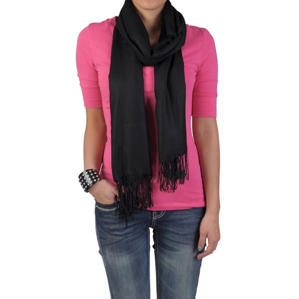 Hailey Jeans Co Women's Solid-Colored Fringe-Detail Scarf