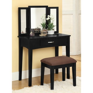 Furniture of America Jade 2-Piece Solid Wood Vanity Table and Stool Set