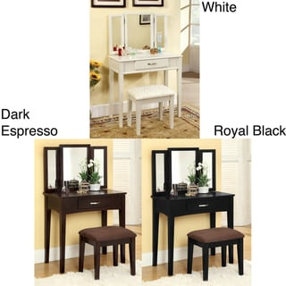 Jade Solid Wood Vanity Table and Stool Set