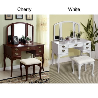Doris Solid Wood Vanity Table and Stool Set