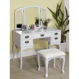 Furniture of America Fivo Traditional Cherry 3-piece Vanity Table Set