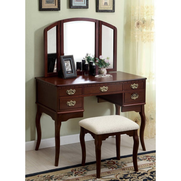 of america classic nasheline 3 drawer vanity 3 sided mirror set