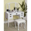 Furniture of America Doris Solid Wood Vanity Table and Stool Set