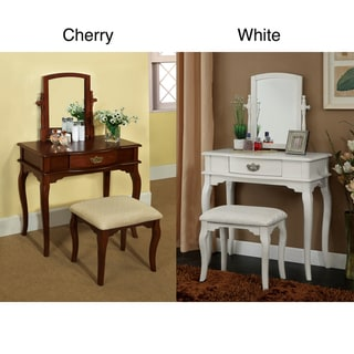 Lorena 2-Piece Solid Wood Vanity Table and Stool Set