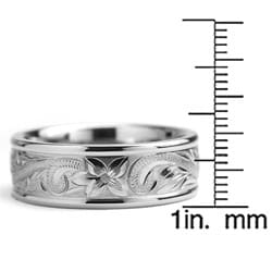 Oliveti Titanium Men's Engraved Floral Design Ring (8 mm)