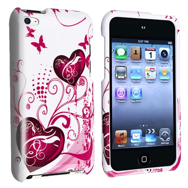 INSTEN White/ Pink Heart iPod Case Cover for Apple iPod Touch 4th Generation