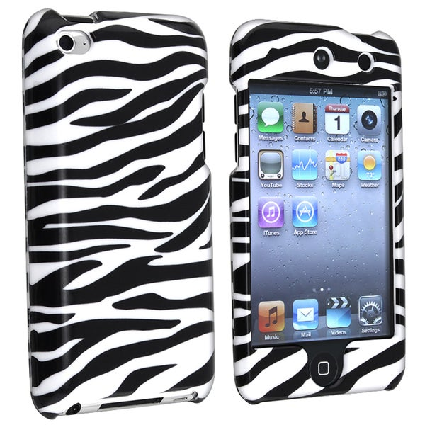 INSTEN White/ Black Zebra iPod Case Cover for Apple iPod Touch 4th Generation