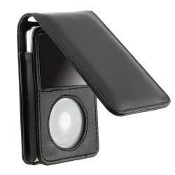 BasAcc Black Leather Case with Strap for Apple iPod Video 30GB