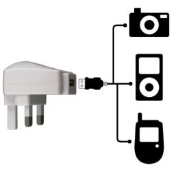 BasAcc White UK USB Travel Charger Adapter for Apple iPod