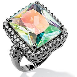 PalmBeach 28.95 TCW Emerald-Cut Aurora Borealis Cubic Zirconia Black Rhodium-Plated Cutout Ring Bold Fashion