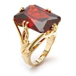 PalmBeach 14k Goldplated Red Cubic Zirconia Branch Ring Color Fun