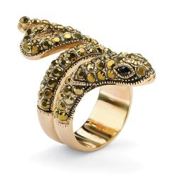 Isabella Collection Goldplated Black and Brown Crystal Snake Ring