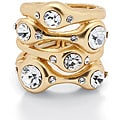 Lillith Star 14k Goldplated White Crystal Free-form Stretch Ring