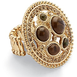 Lillith Star Goldtone Simulated Chalcedony and Crystal Stretch Ring
