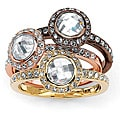 Isabella Collection Tri-color White Crystal Stackable 3-piece Ring Set