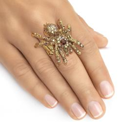 Lillith Star 14k Goldplated Crystal Spider Stretch Ring