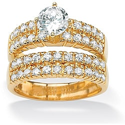 PalmBeach CZ 18k Gold over Silver Cubic Zirconia Double-row Ring Set Classic CZ