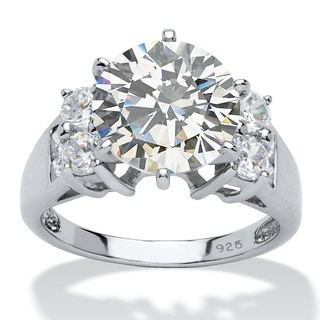 PalmBeach 4.66 TCW Round Cubic Zirconia Engagement Anniversary Ring in Platinum over Sterling Silver Glam CZ
