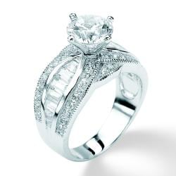 Ultimate CZ Platinum over Silver Cubic Zirconia Ring
