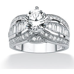 Ultimate CZ Platinum over Silver White Cubic Zirconia Ring