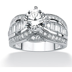 PalmBeach CZ Platinum over Silver White Cubic Zirconia Ring Glam CZ