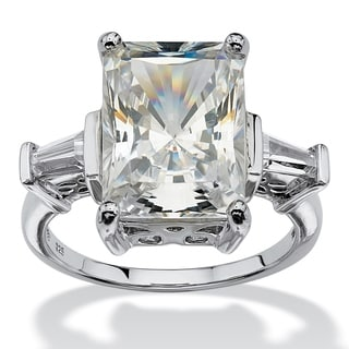 PalmBeach 11.93 TCW Emerald-Cut Cubic Zirconia Platinum over Sterling Silver Bridal Engagement Cutout Ring Glam CZ