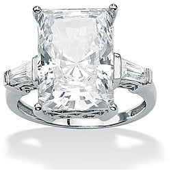 PalmBeach CZ Platinum over Silver Radiant and Baguette Cubic Zirconia Ring Glam CZ