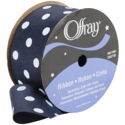 Offray Ribbon Navy Polka Dot Ribbon (9-feet)